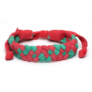 Handmade red and green leather plaited bracelet