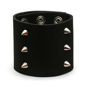 Black Punk style 3 row spiked leather bracelet