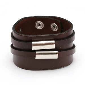 Brown organic leather bracelet with Stainless Steel twin tube