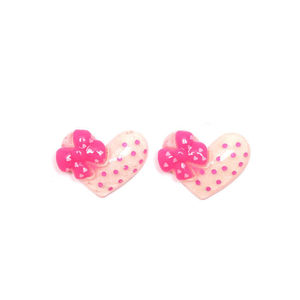 White Polka Dot Hearts with Pink Bows