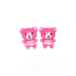 Pink bear in pink dress clip-on earrings