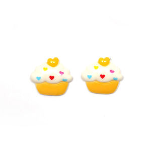 White and yellow cupcake clip-on earrings