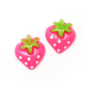Pink spotty strawberry clip-on earrings