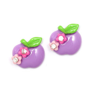 Purple apple with flowers and rhinestones clip-on earrings