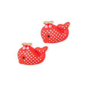 Red polka dot whale clip-on earrings