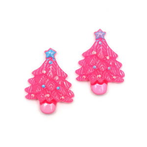 Pink Christmas tree clip-on earrings