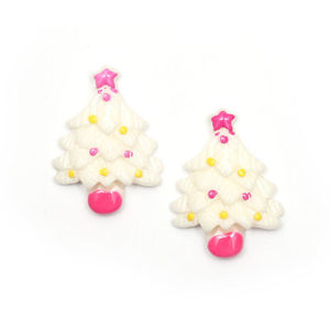 White Christmas tree clip-on earrings