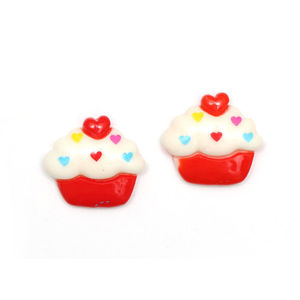 Red and white cupcake clip-on earrings