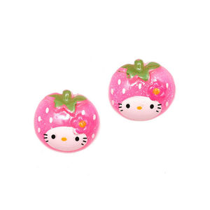 Pink kitty strawberry with glitter effect clip-on earrings