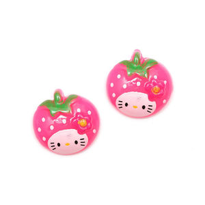 Pink kitty strawberry clip-on earrings