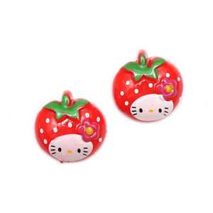 Red kitty strawberry clip-on earrings