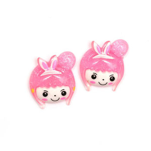 Pink-haired girl clip-on earrings