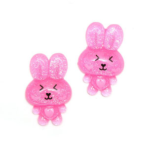 Pink bunny rabbit with glitter effect clip-on earrings