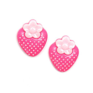 Pink polka dot strawberry clip-on earrings