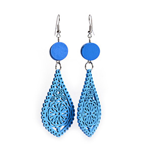 Blue filigree teardrop artistic cut out design wooden dangle earrings