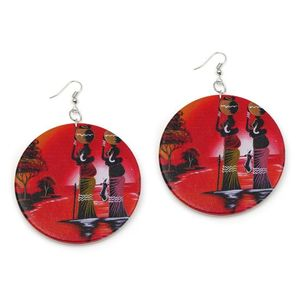 Large Red Ethnic Wooden Disc Drop Earrings, White Back