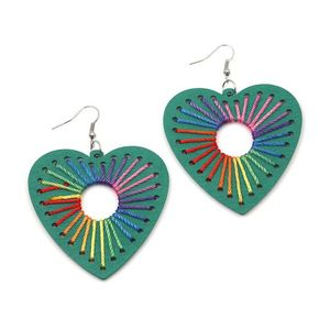 Green Wooden Heart with Rainbow Thread Drop Earrings