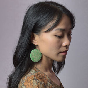 - . green_engraved_wooden_earring_model_A-106531