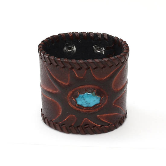 Unisex brown knight leather bracelet with turquoise sun ideal for men and women