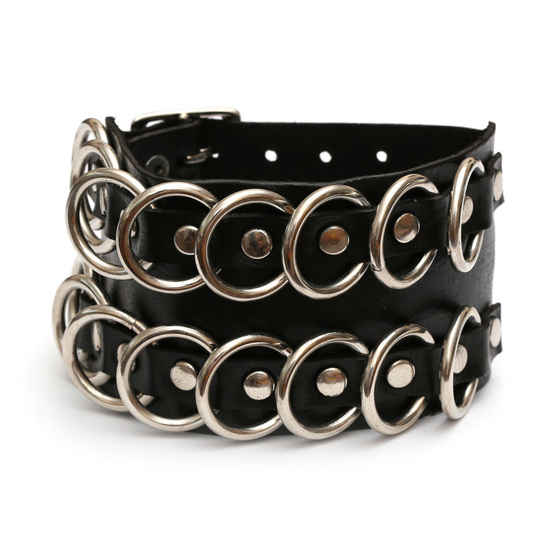Rock 'n' Roll style black handmade leather bracelet with circle