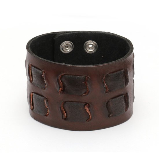 Brown organic leather fortress bracelet