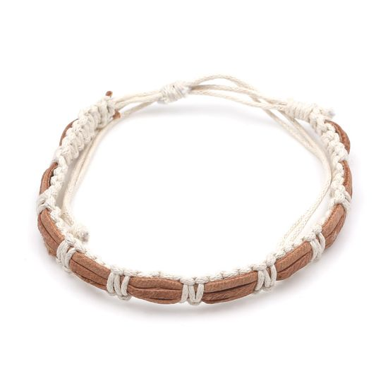 Brown Leather and White Cord Adjustable Bracelet