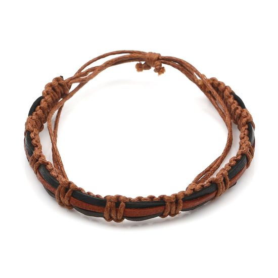 Black and Brown Leather With Wax Cord Adjustable Bracelet