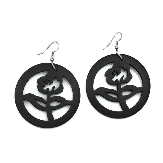 Dark Brown Flower Cut Out Design Wooden Hoop Drop Earrings