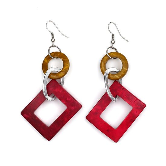 Red Rectangle Coconut Shell with Yellow Hoop and Silver-tone Oval Drop Earrings