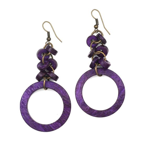 Purple Coconut Shell Beads with Hoop Drop Earrings
