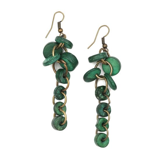 Green Coconut Shell Discs and Beads Drop Earrings