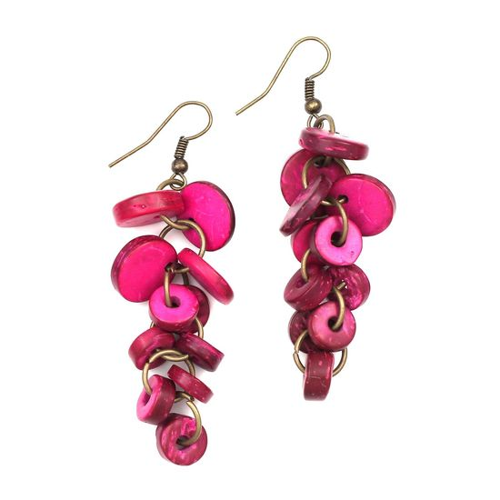 Fuchsia Coconut Shell Discs and Beads Drop Earrings
