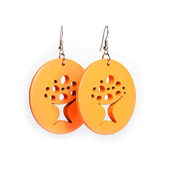 Orange Tree Of Life Cut Out Design Wooden Hoop Drop Earrings