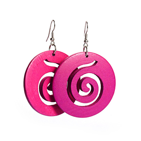 Fuchsia spiral cut out design wooden hoop drop earrings