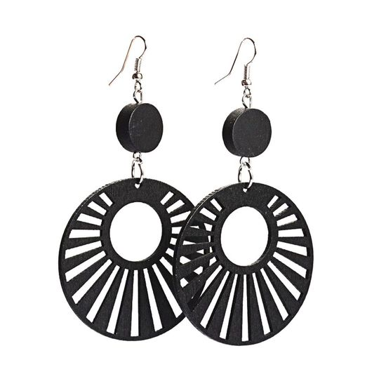 Black Sun Rays Cut Out Design Wooden Drop Earrings