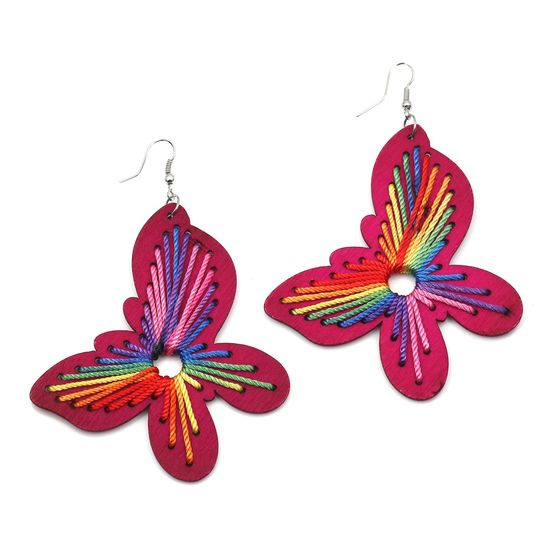 Fuchsia Wooden Butterfly with Rainbow Thread Drop Earrings