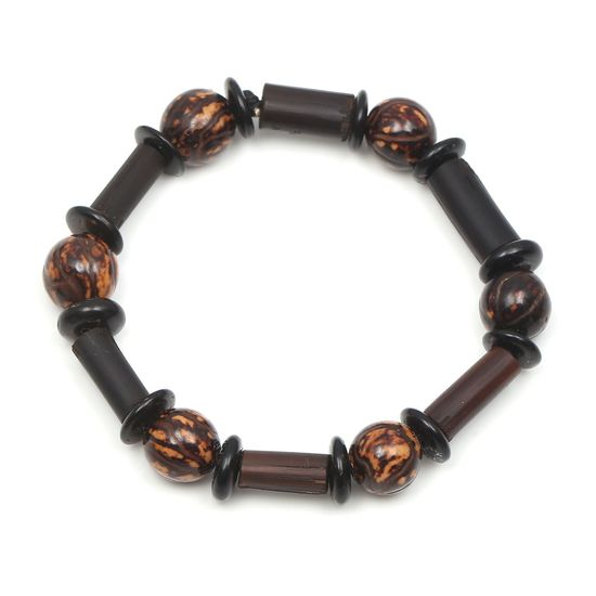Brown and Black Wooden Bead Stretch Bracelet