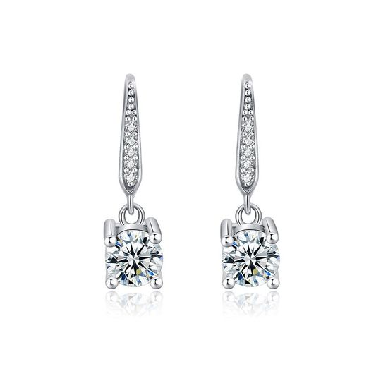 Solitaire Round Cut Cubic Zirconia Crystal Drop Earrings