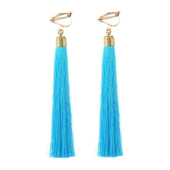 Sky Blue Tassel Statement Clip On Earrings