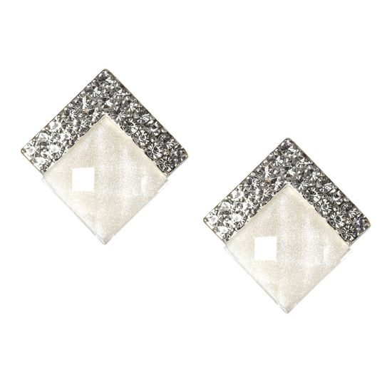 Crystal Pave with White Faceted Diamond Shaped Screw Back Clip-on Earrings