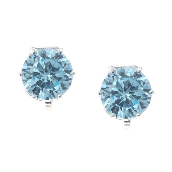 Simulated Aquamarine March Birthstone CZ Crystal White Gold Plated Clip On Earrings