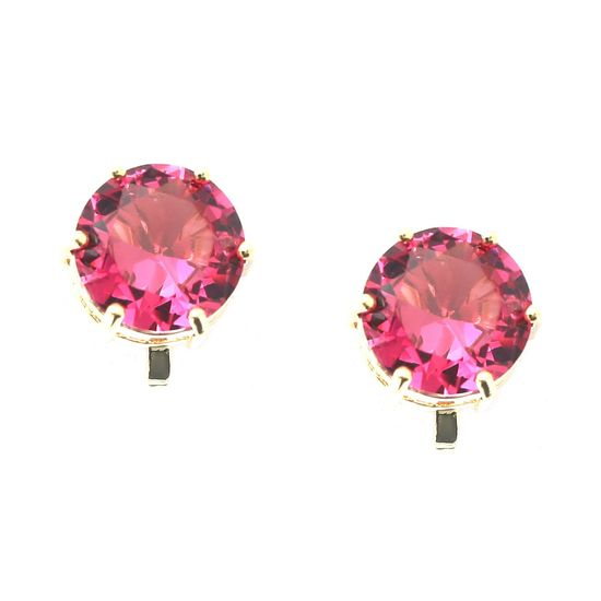 Simulated Tourmaline October Birthstone CZ Crystal Yellow Gold Plated Clip On Earrings