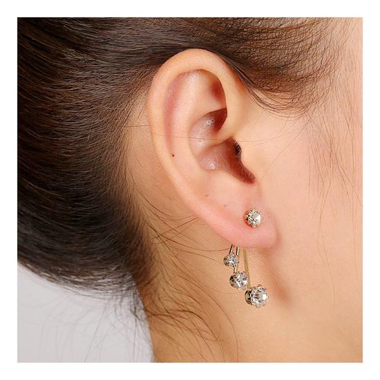 Pair Gold Filled Circle Ear Jacket Earrings