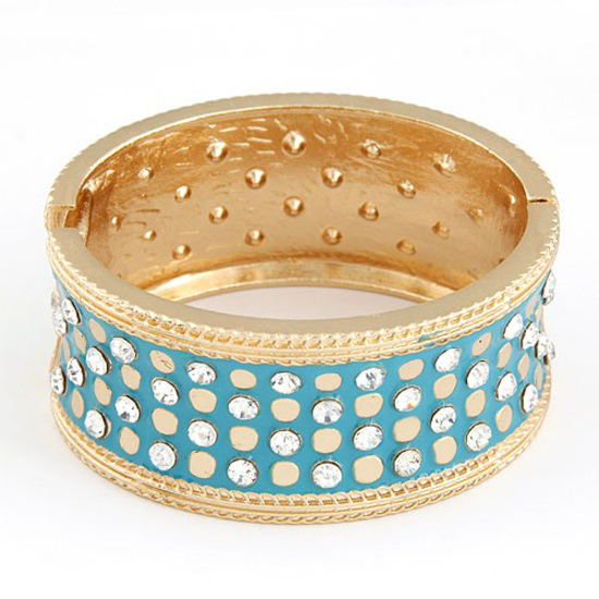 Blue exquisite luxury lady concise crystals bangle with hinge clasp fastening