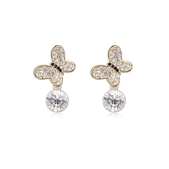 fed81d609 Back to Products. Home. Gold-plated butterfly stud earrings with clear  Swarovski Elements Crystal