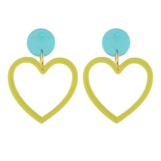 Yellow Transparent Acrylic Heart Drop Earrings