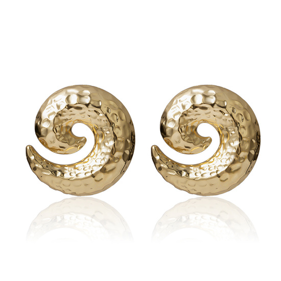 Textured Spiral Gold Tone Stud Earrings