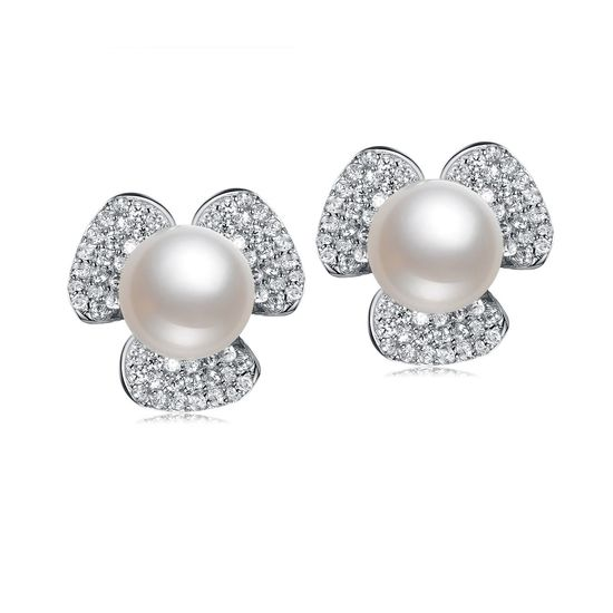 35e752876 Back to Products. Home. AAA White Freshwater Cultured Pearl Cubic Zirconia  Flower Hallmarked Sterling ...