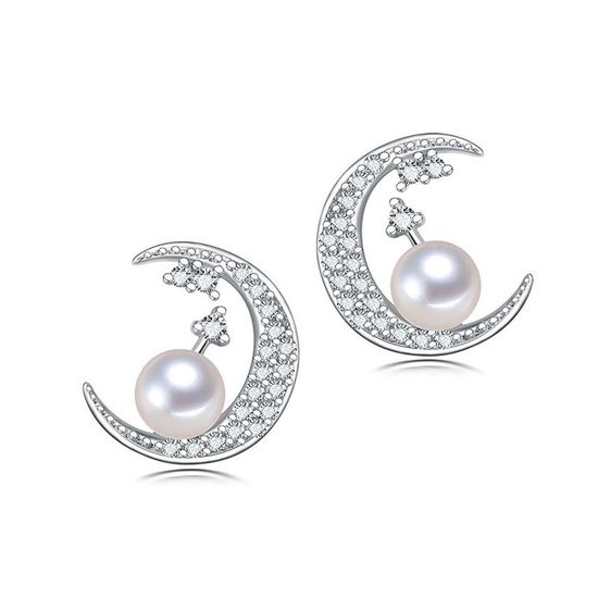 b210fc2e2 Back to Products. Home. AAA White Freshwater Cultured Pearl CZ Crescent  Hallmarked Sterling ...
