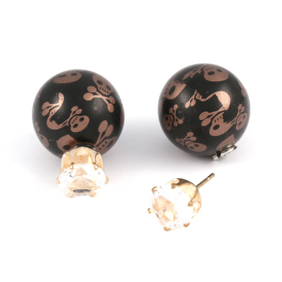 Peru skull resin ball with CZ double sided ear studs